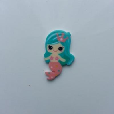 cabochon en résine sirène queue rose cheveux bleu 30*20mm