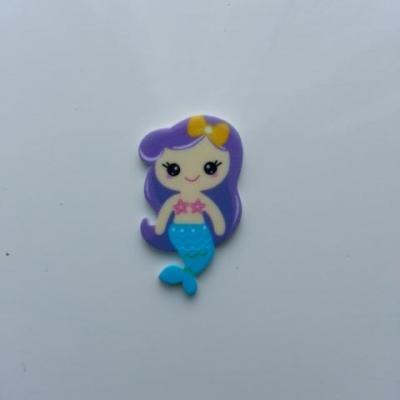 cabochon en résine sirène queue bleu cheveux violet 30*20mm