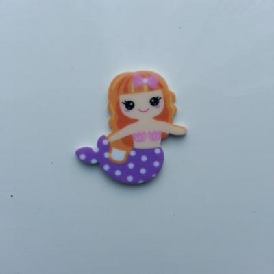 cabochon en résine sirène queue violet cheveux blonds 30*20mm