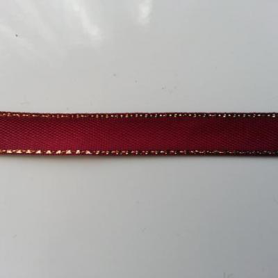 1 metre de ruban bordeaux liseré or, doré de   10mm