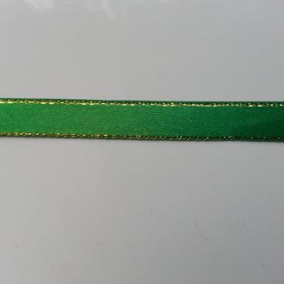 1 metre de ruban vert liseré or, doré de   10mm