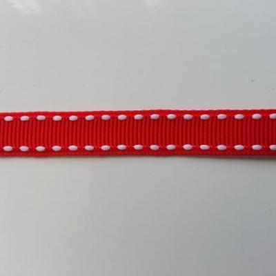 1 mètre de ruban gros grain rouge et blanc 10mm