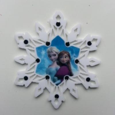 Cabochon étoile  en résine elsa et anna reine des neiges  50mm blanc