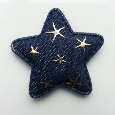étoile en jean matelassée bleu foncé motif étoile or 50mm