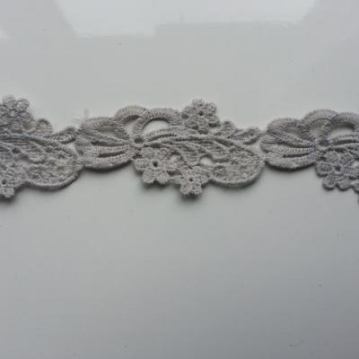 morceau de 45cm de ruban dentelle gris 40mm de large