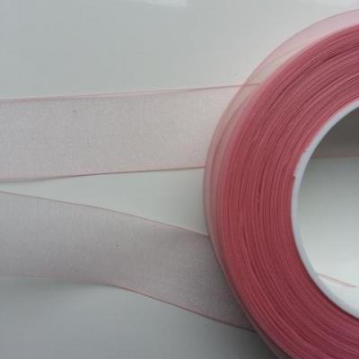ruban  organza rose pale  25mm vendu au  mètre