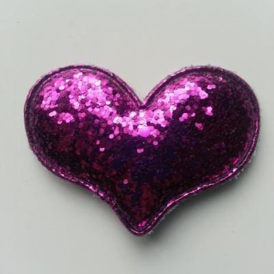 applique coeur pailleté 60*45mm violet