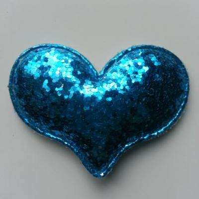 applique coeur pailleté 60*45mm bleu turquoise