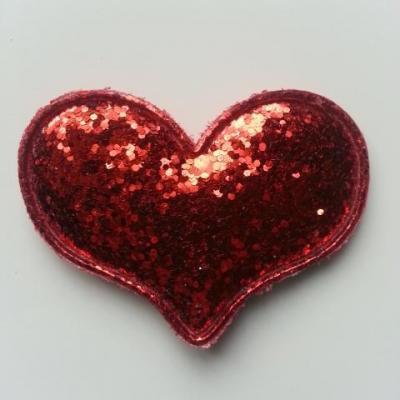 applique coeur pailleté 60*45mm rouge