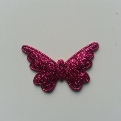 papillon pailleté 40*25mm rose fuchsia