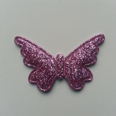 papillon pailleté 40*25mm mauve