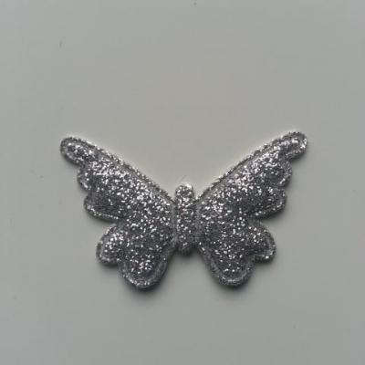 papillon pailleté 40*25mm argent