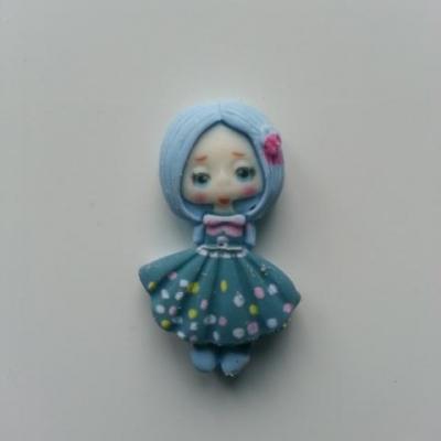 embellissement fille  bleu en résine 35*20mm