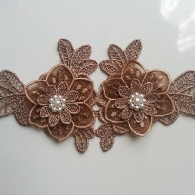 applique  en dentelle et fleur marron  avec perle  19*9cm