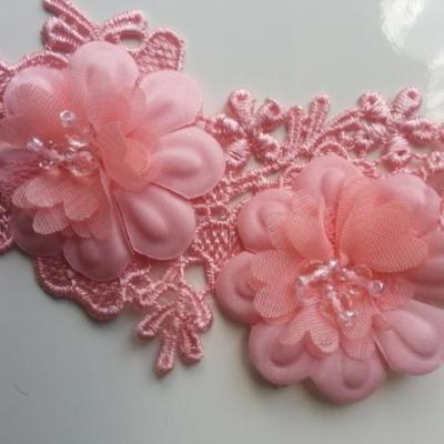 applique  en dentelle et fleur rose avec strass 25*10cm