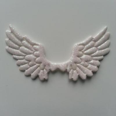 applique ailes d'ange en tisu pailleté  65*35mm blanc