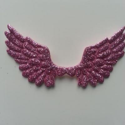 applique ailes d'ange en tisu pailleté  65*35mm rose