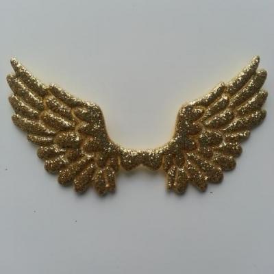 applique ailes d'ange en tisu pailleté  65*35mm doré, or