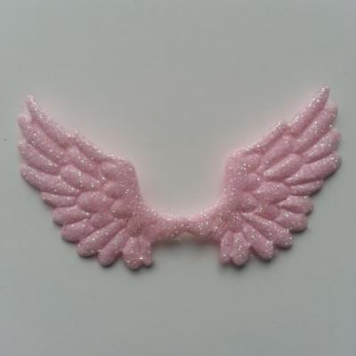 applique ailes d'ange en tisu pailleté  65*35mm rose pale