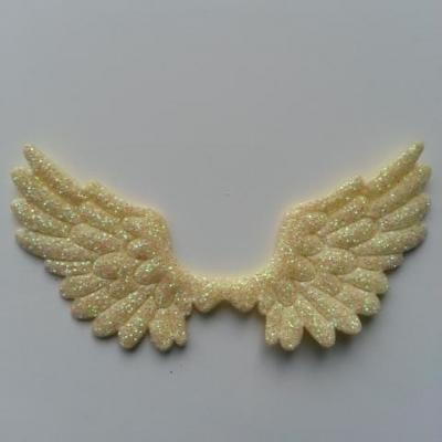 applique ailes d'ange en tisu pailleté  65*35mm jaune