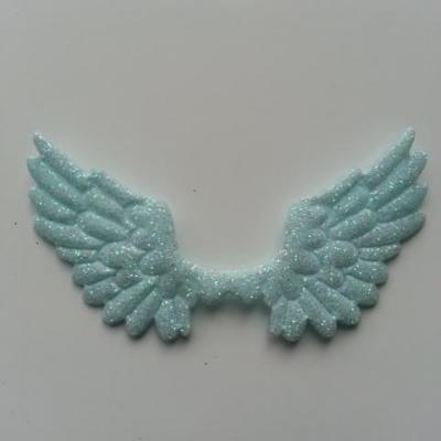applique ailes d'ange en tisu pailleté  65*35mm vert pastel