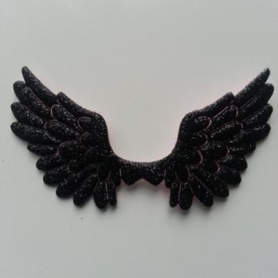 applique ailes d'ange en tisu pailleté  65*35mm noir
