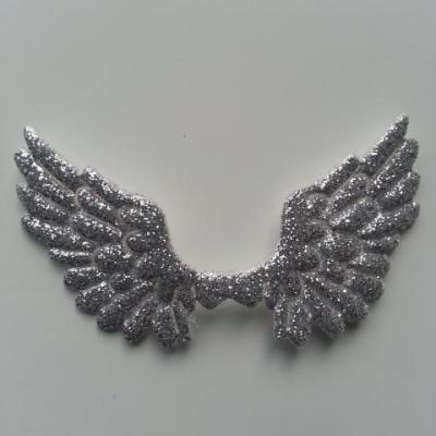 applique ailes d'ange en tisu pailleté  65*35mm argent