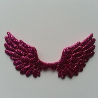 applique ailes d'ange en tisu pailleté  65*35mm rose fuchsia