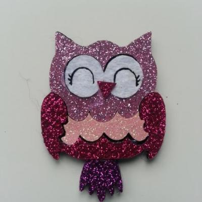 applique hibou paillette rose fuchsia  40*50mm