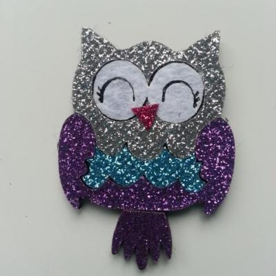 applique hibou paillette violet 40*50mm