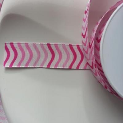un mètre de ruban polyester renforcé blanc à rayures rose  25mm