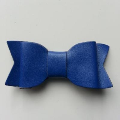 noeud en simili  70*30mm bleu foncé