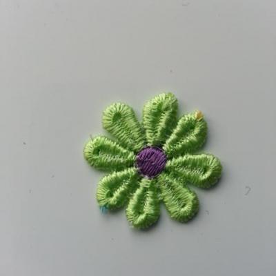 Fleur en dentelle bicolore  30mm vert et violet