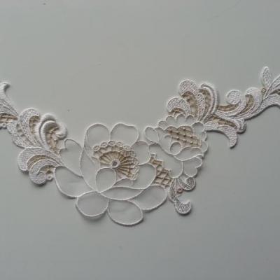 applique collier, col dentelle blanc et or 25*14cm