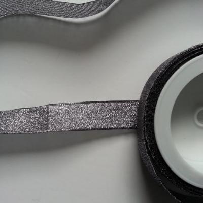 1 metre de ruban  noir et argent métallisé 20mm de largeur