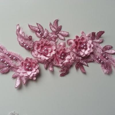 applique  en dentelle et fleur rose   22,5*11cm
