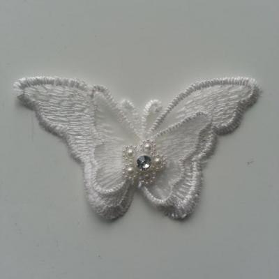 double papillon en dentelle blanc perle et strass  70*40mm