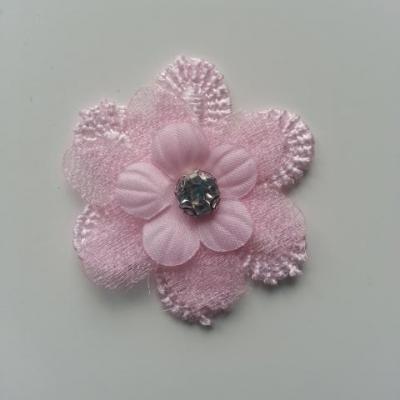 double fleur en dentelle et organza rose strass 35 mm