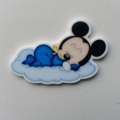 Cabochon plat en résine  mickey baby bleu 40*25mm