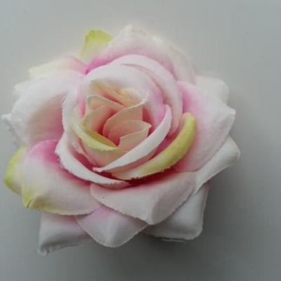 rose artificielle en tissu  de 60mm ivoire rose vert