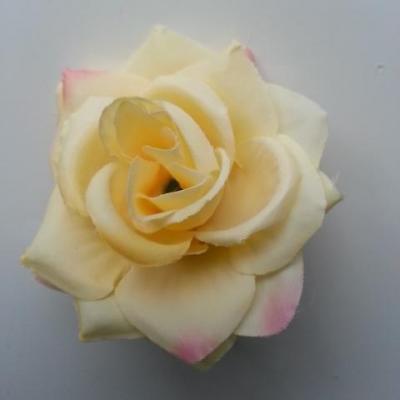 rose artificielle en tissu  de 60mm jaune pale