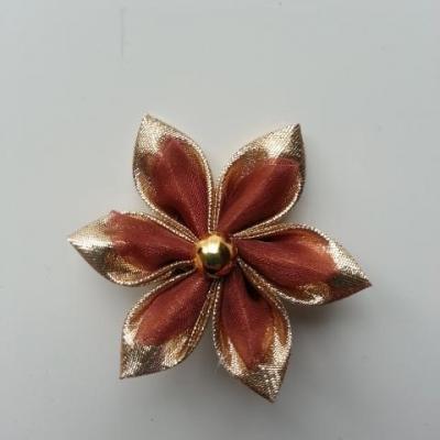 Fleur tissu doré, or et organza marron  5cm