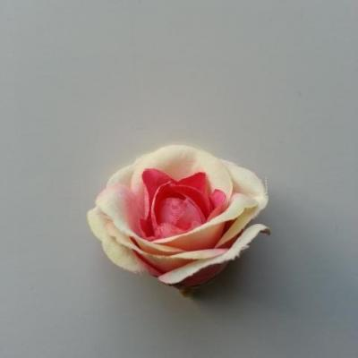 fleur artificielle en tissu 40mm ivoire et rose fuchsia