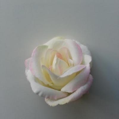 fleur en tissu 40mm ivoire et rose