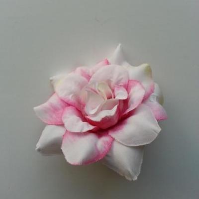 fleur en tissu de 40mm rose fuchsia  et blanc