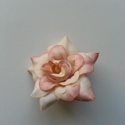 fleur en tissu de 40mm ivoire et vieux rose