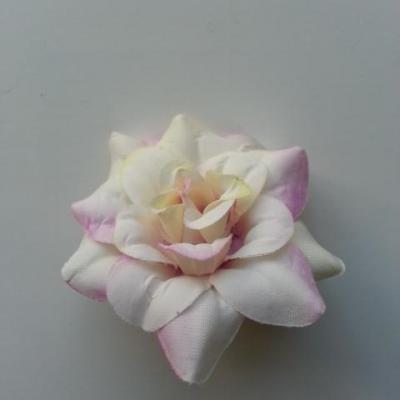fleur en tissu de 40mm mauve et blanc