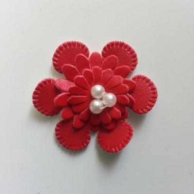 fleur en simili cuir  35mm rouge
