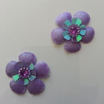 Lot de 2 appliques fleurs avec strass  35mm mauve