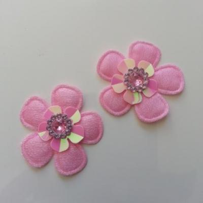 Lot de 2 appliques fleurs avec strass  35mm rose